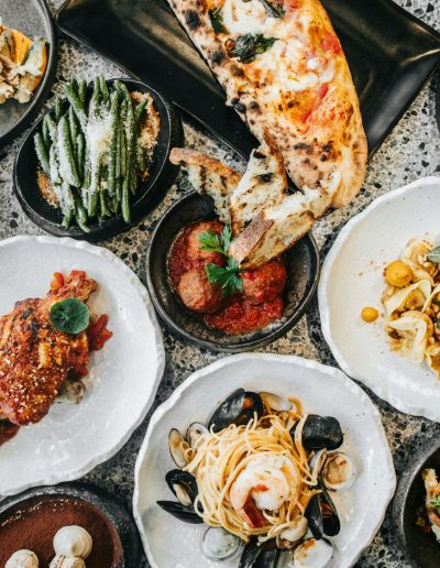 A variety of Italian dishes at 400 Gradi in Dallas, Texas